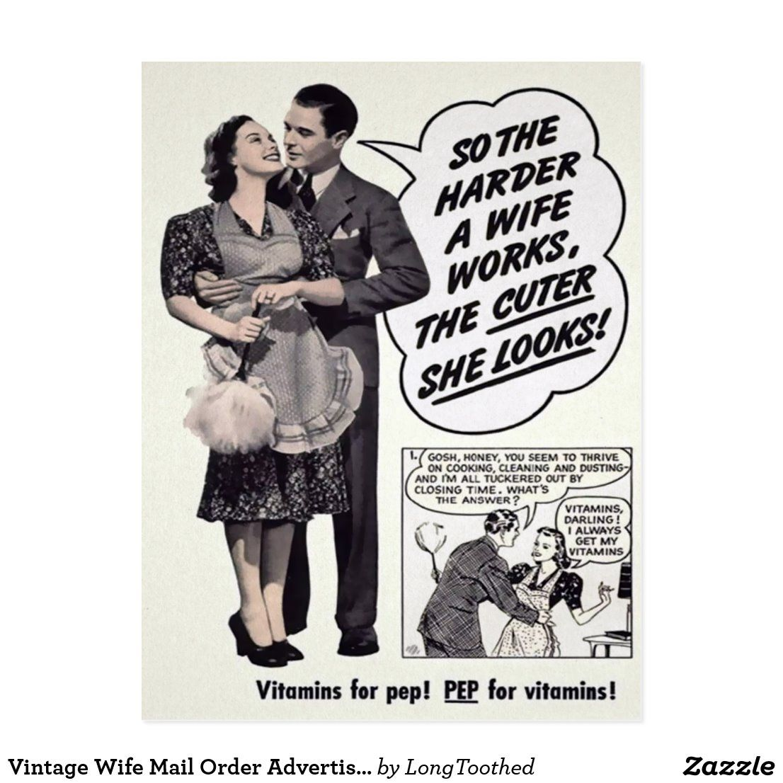 Vintage Wife Mail Order Advertisement Postcard _ Zazzle_com